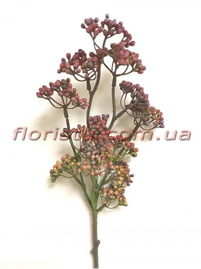 Ветка с мелкими ягодами мимозы Винтаж дымчато-бордовая 50 см
