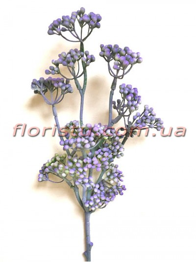 Ветка с мелкими ягодами мимозы Винтаж дымчато-фиолетовая 50 см