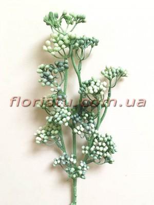 Ветка с мелкими ягодами мимозы Винтаж дымчато-зеленая 50 см