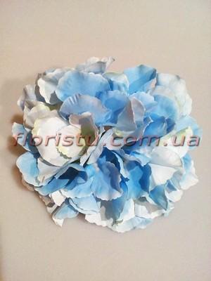 Головка гортензии искусственная премиум Нежно-голубая 15 см