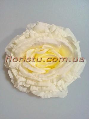 Головка розы крупная премиум класса Белая 15 см