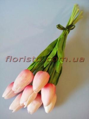 Букет тюльпанов из латекса светло-розовых 9 шт. 30 см