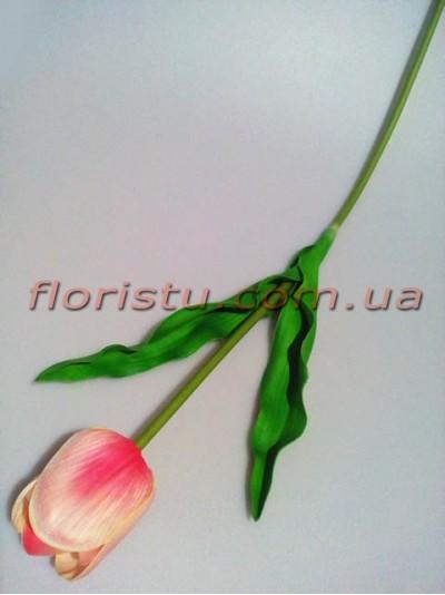 Тюльпан из латекса премиум класса Розовый 65 см