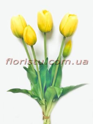 Букет тюльпанов из латекса Премиум класса Желтых 5 шт. 40 см
