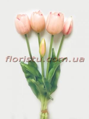 Букет тюльпанов из латекса Премиум класса Нежно-розовых 5 шт. 40 см