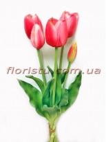 Букет тюльпанов из латекса Премиум класса Розовых 5 шт. 40 см