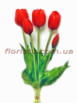 Букет тюльпанов из латекса Премиум класса Красных 5 шт. 40 см