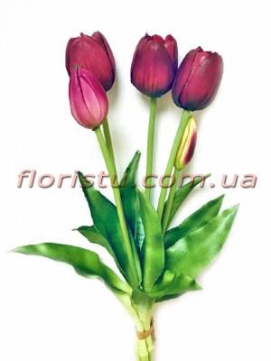 Букет тюльпанов из латеса Премиум класса Бордо 5 шт. 40 см