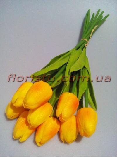 Букет тюльпанов из латекса оранжево-желтых 9 шт. 30 см