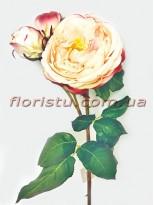 Роза Princess из латекса премиум класса кремово-розовая 55 см