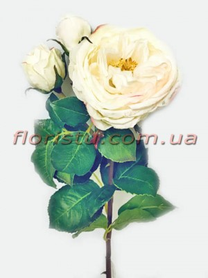 Роза Princess из латекса премиум класса нежно-кремовая 55 см