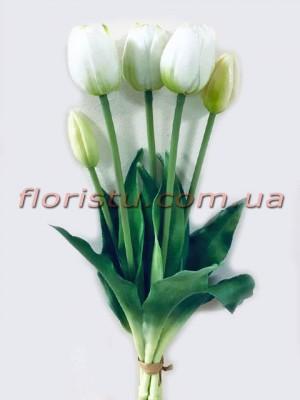 Букет тюльпанов из латекса Премиум класса Белых 5 шт. 40 см