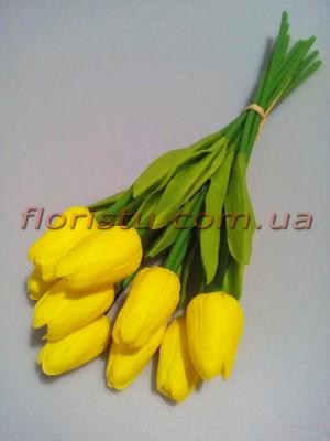 Букет тюльпанов из латекса желтых 9 шт. 30 см