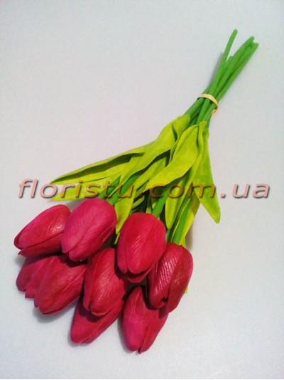 Букет тюльпанов из латекса бордо 9 шт. 30 см