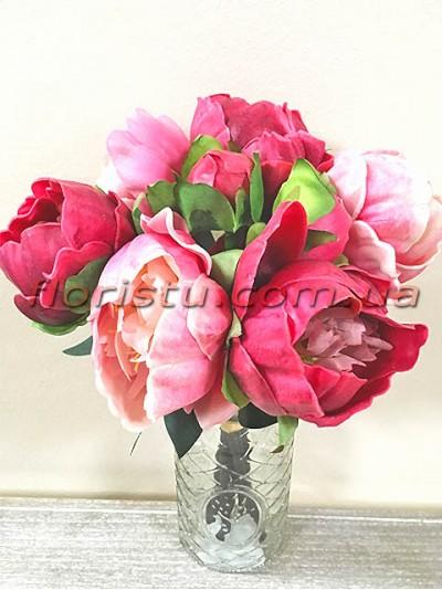Букет-дублер из латексных пионов розовых и малиновых 26 см гол. 8 см