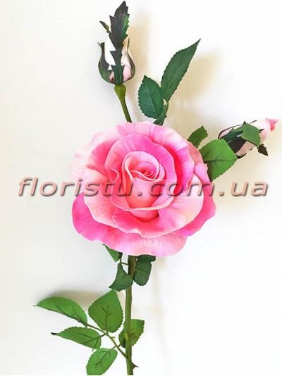Роза латексная премиум класса Розовая 72 см гол. 11 см