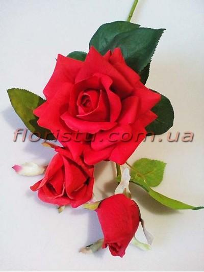 Роза латексная премиум класса Красная 76 см гол. 12 см