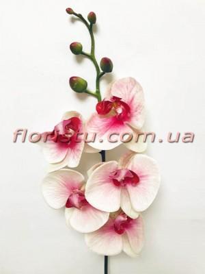 Орхидея фаленопсис латексная Премиум Бело-лиловая гол.10 см 87 см