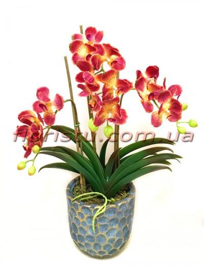 Искусственные орхидеи фаленопсис в керамическом кашпо 50 см