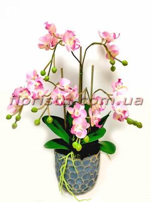 Искусственные орхидеи фаленопсис в керамическом кашпо 55 см