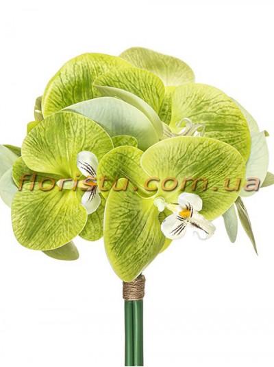 Букет орхидей из латекса премиум класса Зеленый 5 веток 30 см