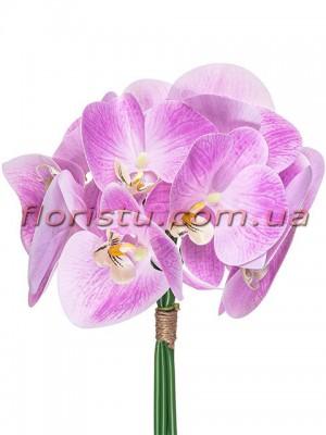 Букет орхидей из латекса премиум класса Сиреневый 5 веток 30 см