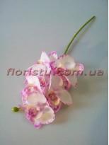 Орхидея фаленопсис мини латексная белая с нежно-сиреневым 6 гол. 39 см