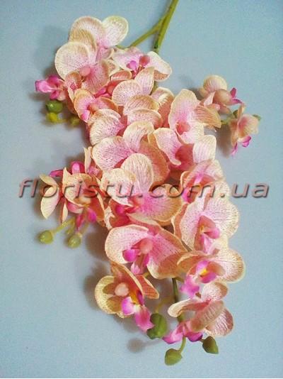 Орхидея фаленопсис искусственная Кремово-розовая гол. 3-5 см