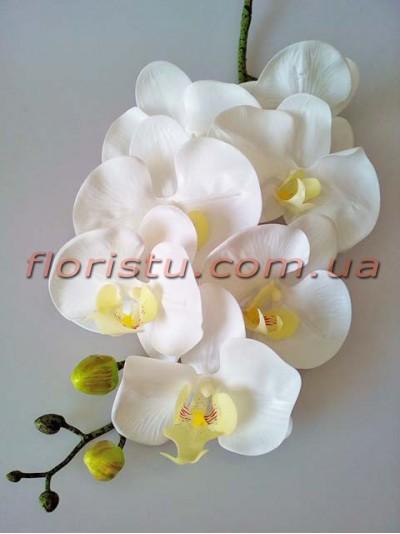 Орхидея фаленопсис латексная премиум класса Белая 7 гол. 86 см