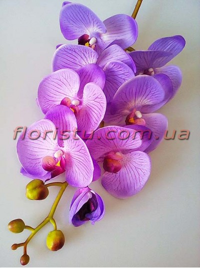 Орхидея фаленопсис латексная Люкс Сиреневая 8 гол. 100 см