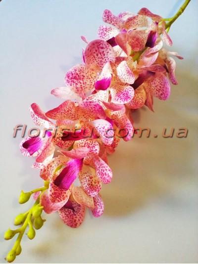 Искусственная орхидея дендробиум премиум класса Фиолетово-розовая 19 гол. 98 см
