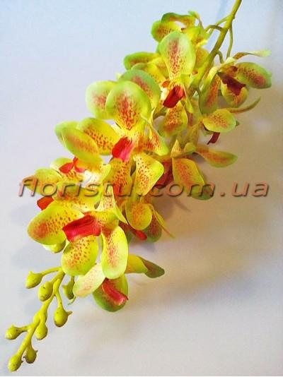 Искусственная орхидея дендробиум премиум класса Оливково-зеленая 19 гол. 98 см