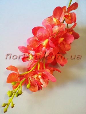 Искусственная орхидея дендробиум премиум класса Нежно-оранжевая 19 гол. 98 см