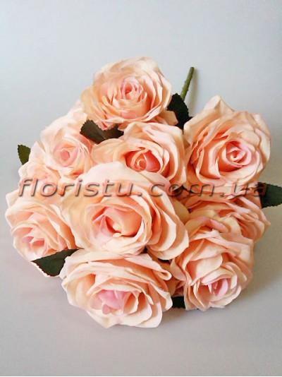 Букет роз Премиум персиково-розовых 10 гол. 9 см