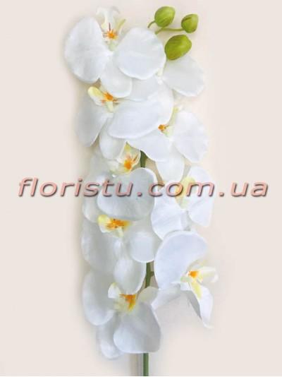 Орхидея фаленопсис тканевая премиум класса Белая 9 гол. 135 см