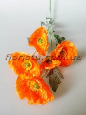 Мак искусственный оранжевый 70 см 5 гол. 6 см