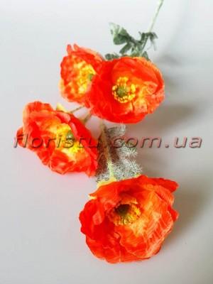 Мак искусственный оранжево-красный 70 см 5 гол. 6 см