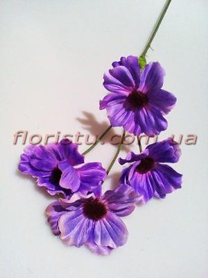 Космея искусственная фиолетовая 60 см 4 гол. 7 см