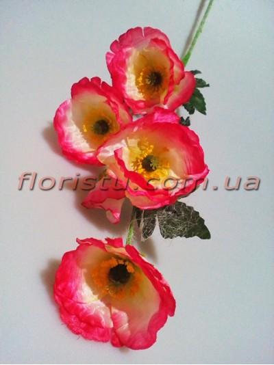 Мак искусственный бело-розовый 70 см 5 гол. 6 см