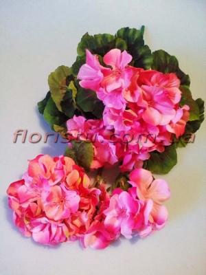 Куст герани искусственной премиум Розовый 45 см