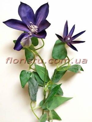 Клематис искусственный премиум класса Фиолетовый 70 см гол.12 см