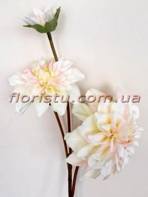 Георгина искусственная премиум класса Кремово-розовая 72 см гол. 16 см