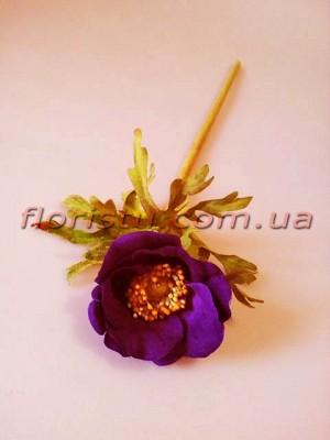 Анемона искусственная премиум класса Фиолетовая 36 см гол. 6 см