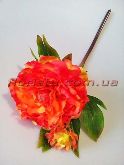 Пион древовидный искусственный премиум класса Оранжевый 50 см гол. 12 см