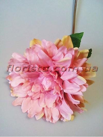 Георгина искусственная премиум Розово-пудровая 70 см гол. 16 см