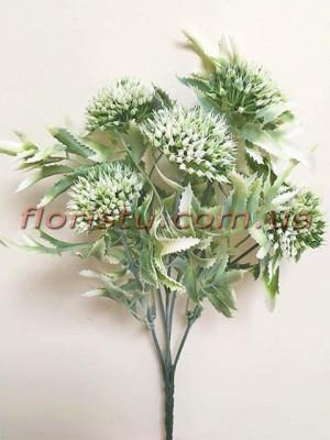 Чертополох искусственный с острыми листьями Дымчато-зеленый гол. 4 см
