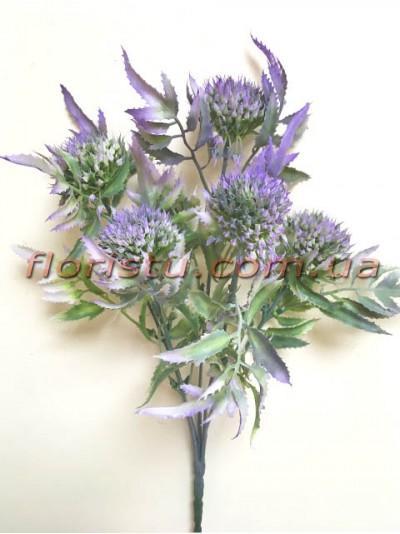 Чертополох искусственный с острыми листьями Дымчато-фиолетовый гол. 4 см
