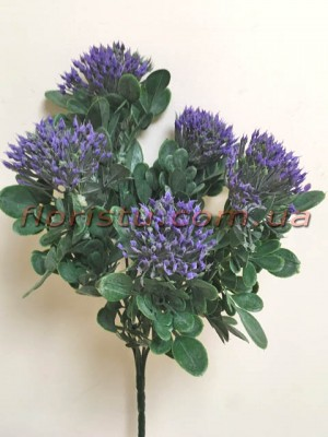 Чертополох искусственный с округлыми листьями Фиолет гол. 4 см