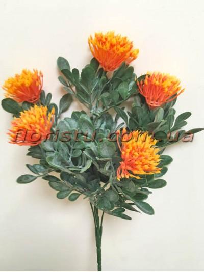 Чертополох искусственный с округлыми листьями Оранж гол. 4 см