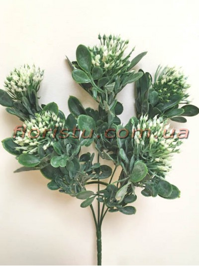 Чертополох искусственный с округлыми листьями Зеленый гол. 4 см